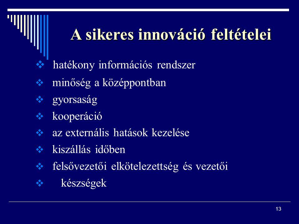13 A sikeres innováció feltételei  hatékony információs rendszer  minőség a középpontban  gyorsaság  kooperáció  az externális hatások kezelése 