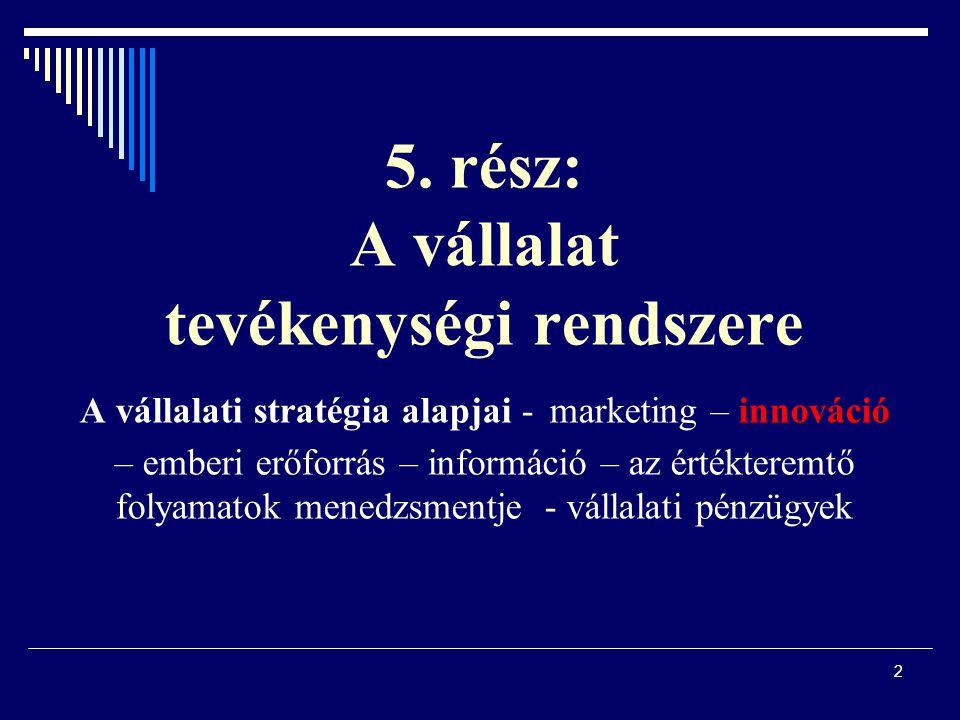 2 5. rész: A vállalat tevékenységi rendszere A vállalati stratégia alapjai - marketing – innováció – emberi erőforrás – információ – az értékteremtő f