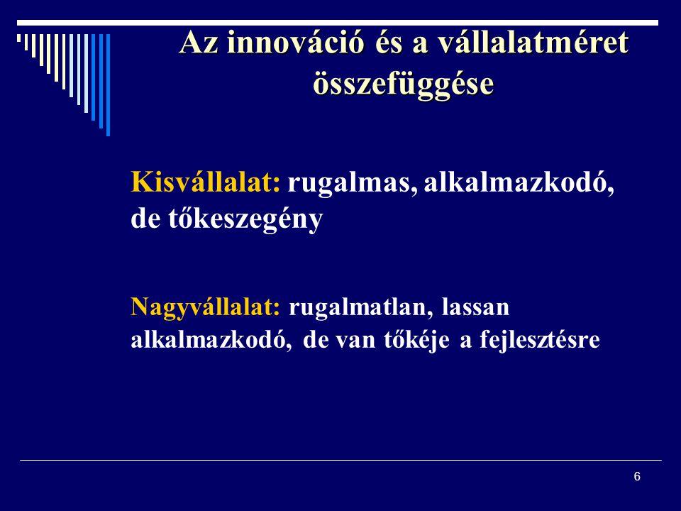 6 Az innováció és a vállalatméret összefüggése Kisvállalat: rugalmas, alkalmazkodó, de tőkeszegény Nagyvállalat: rugalmatlan, lassan alkalmazkodó, de
