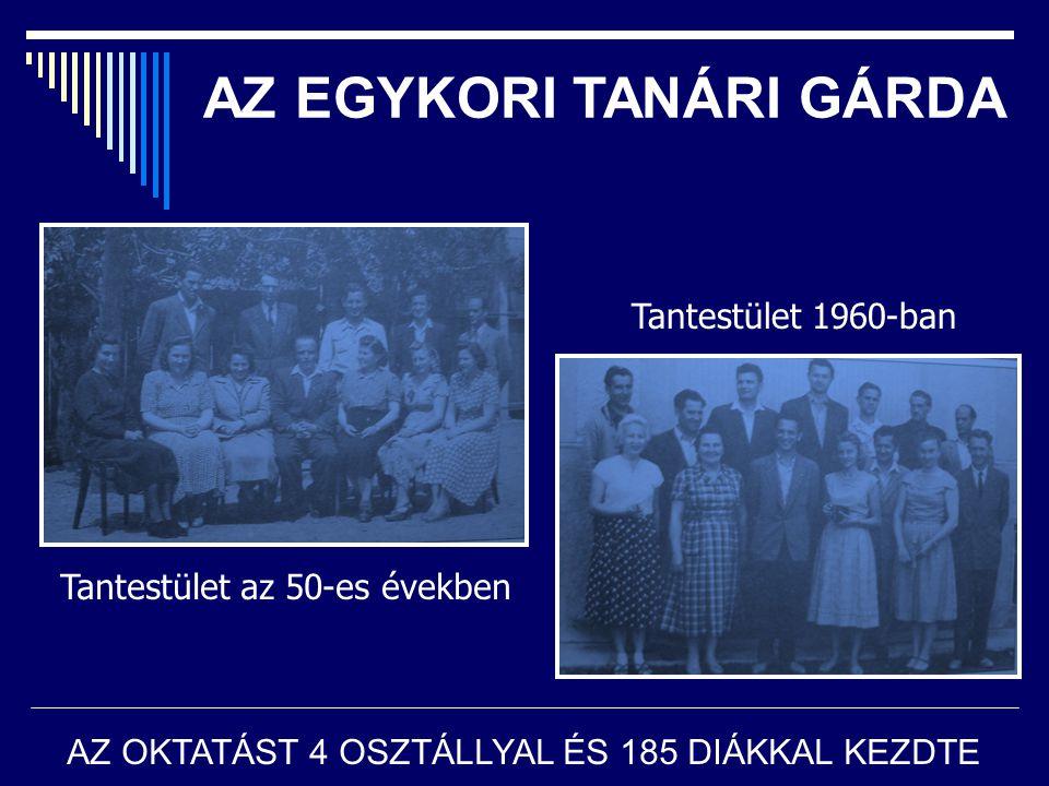 AZ EGYKORI TANÁRI GÁRDA Tantestület az 50-es években Tantestület 1960-ban AZ OKTATÁST 4 OSZTÁLLYAL ÉS 185 DIÁKKAL KEZDTE
