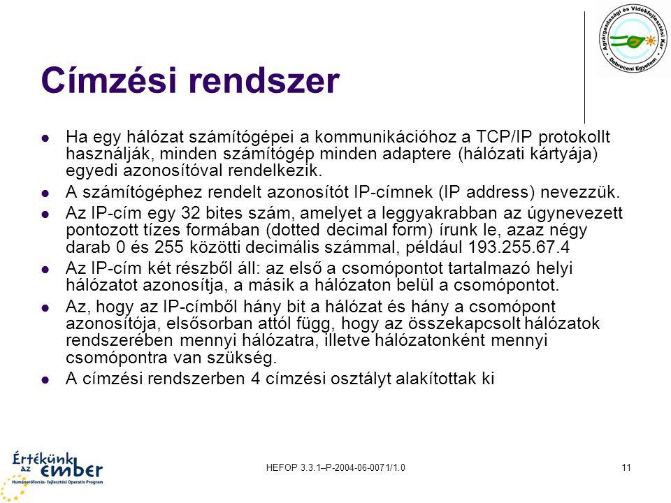 HEFOP 3.3.1–P-2004-06-0071/1.011 Címzési rendszer Ha egy hálózat számítógépei a kommunikációhoz a TCP/IP protokollt használják, minden számítógép mind