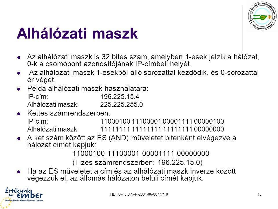 HEFOP 3.3.1–P-2004-06-0071/1.013 Alhálózati maszk Az alhálózati maszk is 32 bites szám, amelyben 1-esek jelzik a hálózat, 0-k a csomópont azonosítóján