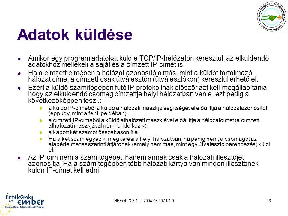 HEFOP 3.3.1–P-2004-06-0071/1.016 Adatok küldése Amikor egy program adatokat küld a TCP/IP-hálózaton keresztül, az elküldendő adatokhoz mellékeli a saj