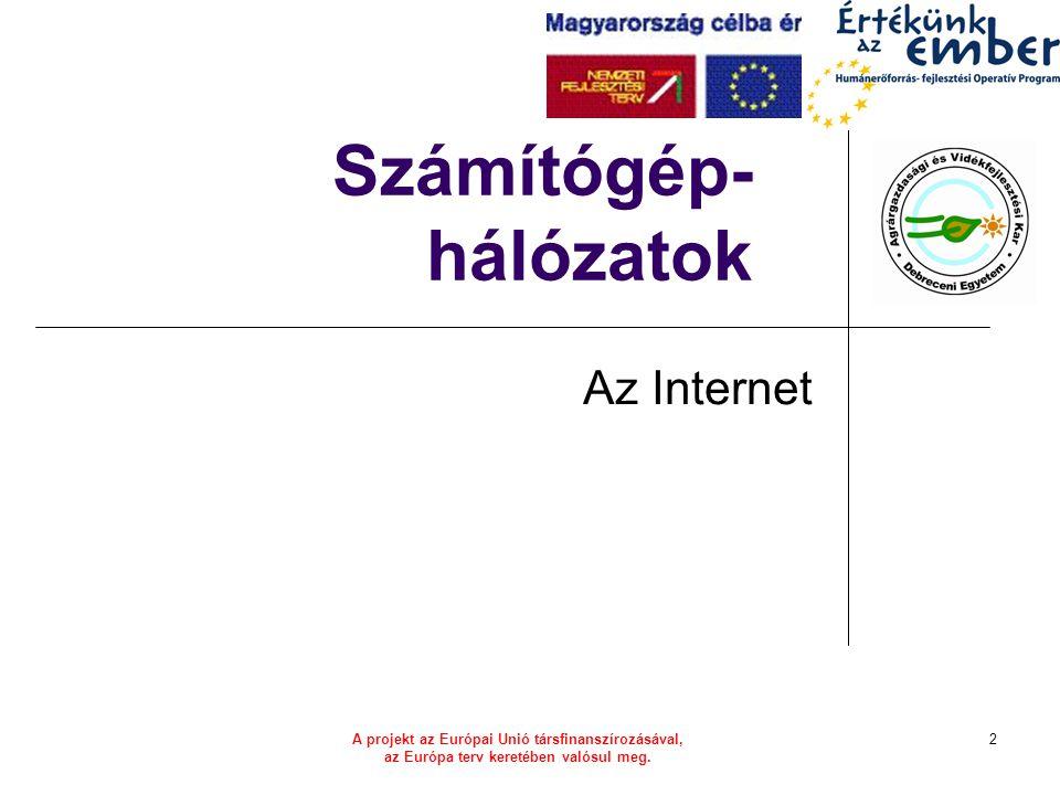 A projekt az Európai Unió társfinanszírozásával, az Európa terv keretében valósul meg. 2 Számítógép- hálózatok Az Internet