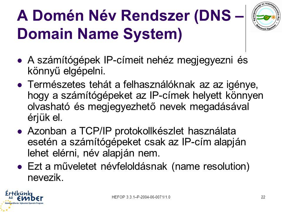 HEFOP 3.3.1–P-2004-06-0071/1.022 A Domén Név Rendszer (DNS – Domain Name System) A számítógépek IP-címeit nehéz megjegyezni és könnyű elgépelni. Termé