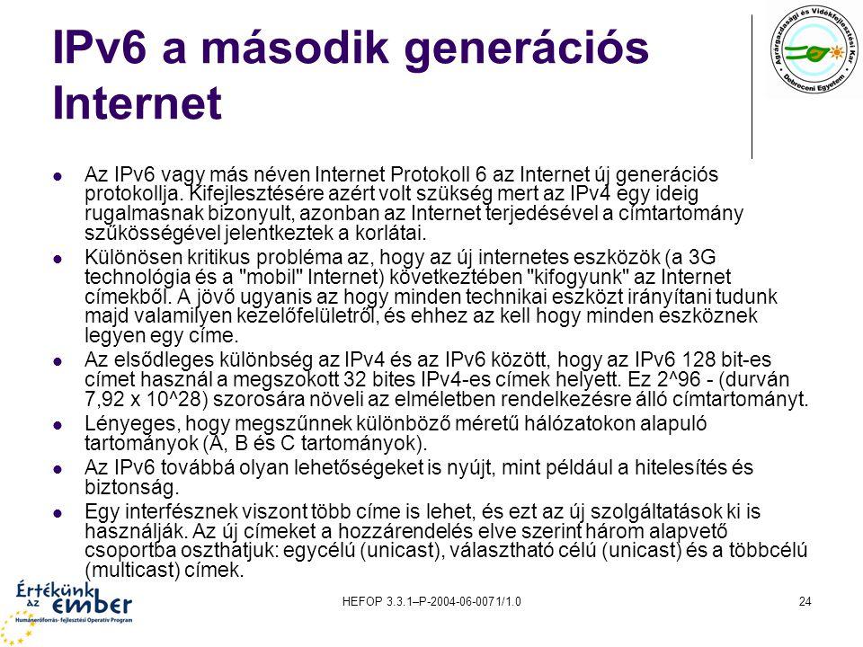 HEFOP 3.3.1–P-2004-06-0071/1.024 IPv6 a második generációs Internet Az IPv6 vagy más néven Internet Protokoll 6 az Internet új generációs protokollja.