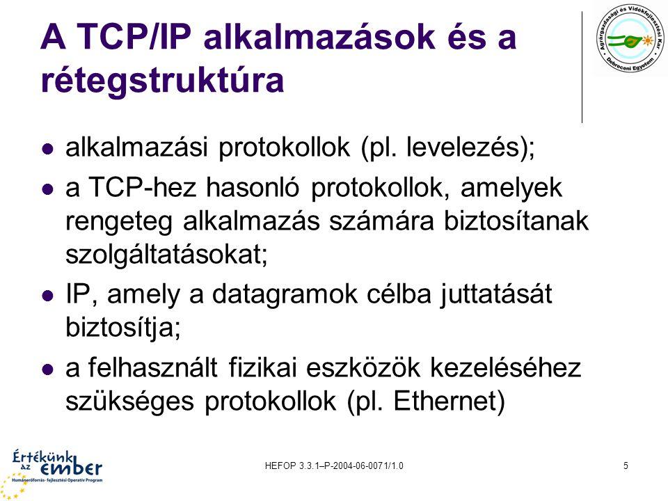 HEFOP 3.3.1–P-2004-06-0071/1.016 Adatok küldése Amikor egy program adatokat küld a TCP/IP-hálózaton keresztül, az elküldendő adatokhoz mellékeli a saját és a címzett IP-címét is.