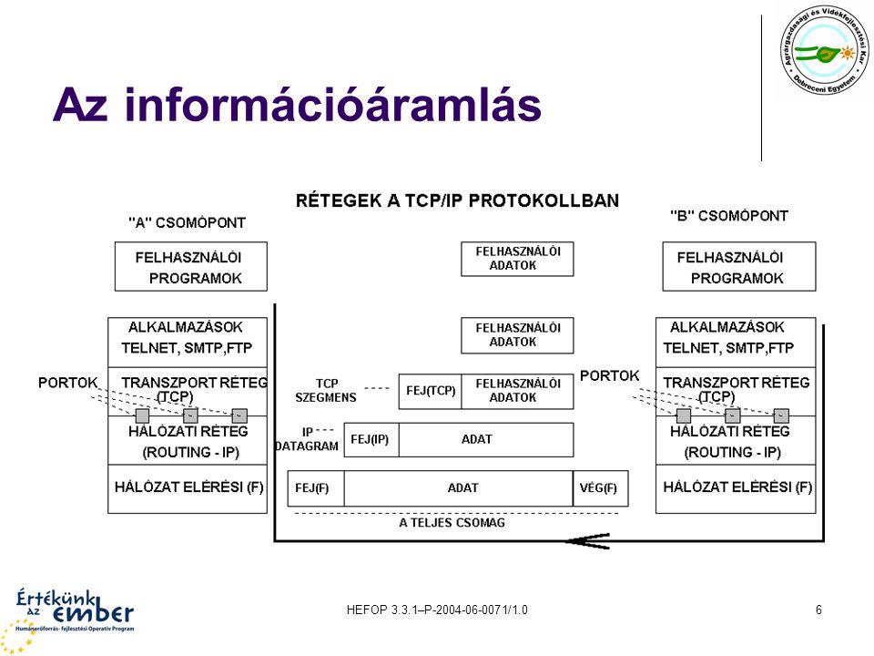 HEFOP 3.3.1–P-2004-06-0071/1.017 Dinamikus címkiosztás A hálózatokban lehetőség van arra, hogy a számítógépek IP- címeit (és a TCP/IP használatához szükséges egyéb paramétereket) egy vagy több kiszolgáló automatikusan ossza szét.