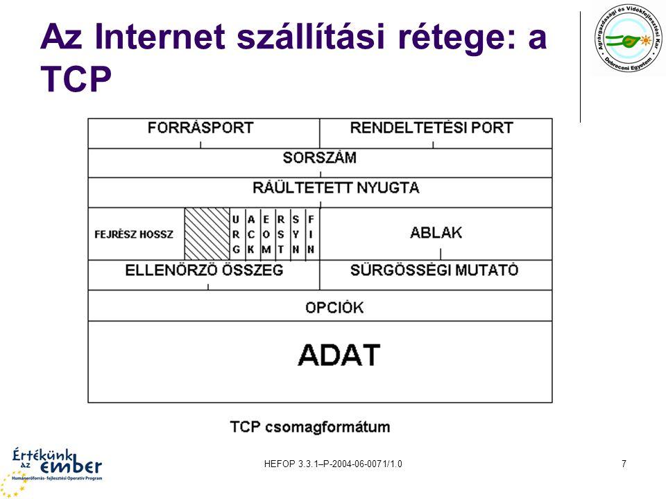 HEFOP 3.3.1–P-2004-06-0071/1.08 Az Internet hálózati rétege: az IP A TCP az általa feldolgozott datagramokat átadja az IP-nek.
