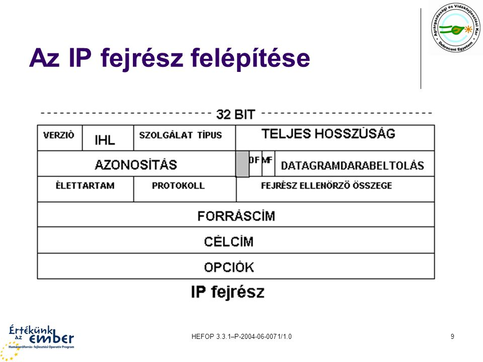 HEFOP 3.3.1–P-2004-06-0071/1.09 Az IP fejrész felépítése