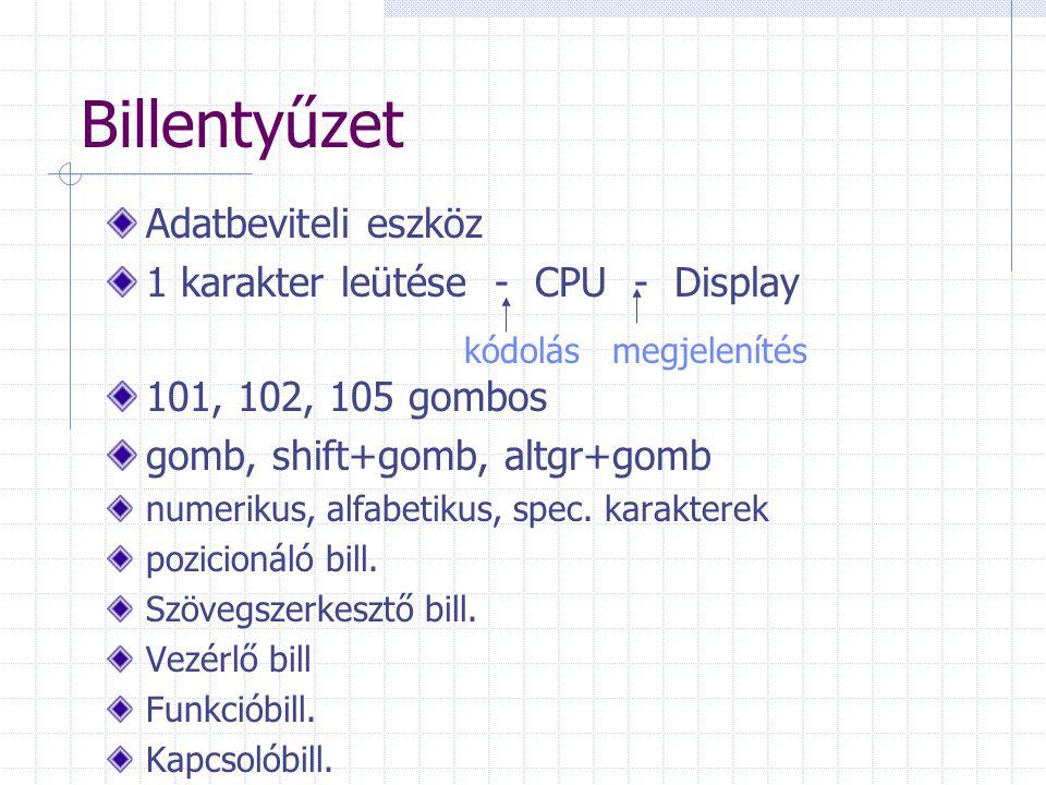 Billentyűzet Adatbeviteli eszköz 1 karakter leütése - CPU - Display 101, 102, 105 gombos gomb, shift+gomb, altgr+gomb numerikus, alfabetikus, spec. ka
