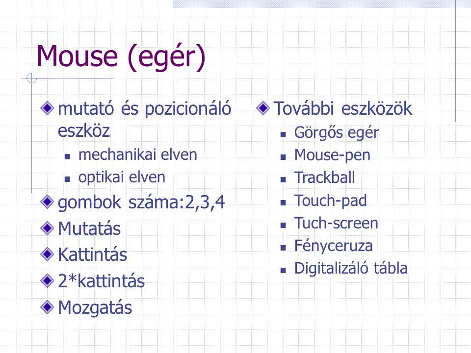 Mouse (egér) mutató és pozicionáló eszköz mechanikai elven optikai elven gombok száma:2,3,4 Mutatás Kattintás 2*kattintás Mozgatás További eszközök Gö