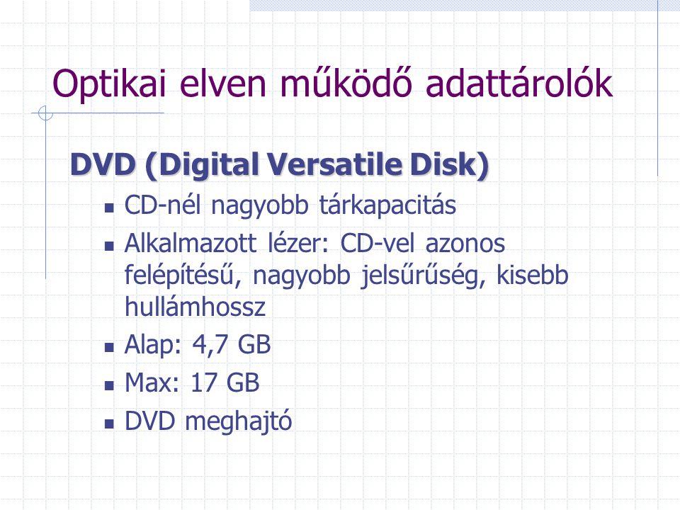 Optikai elven működő adattárolók DVD (Digital Versatile Disk) CD-nél nagyobb tárkapacitás Alkalmazott lézer: CD-vel azonos felépítésű, nagyobb jelsűrű