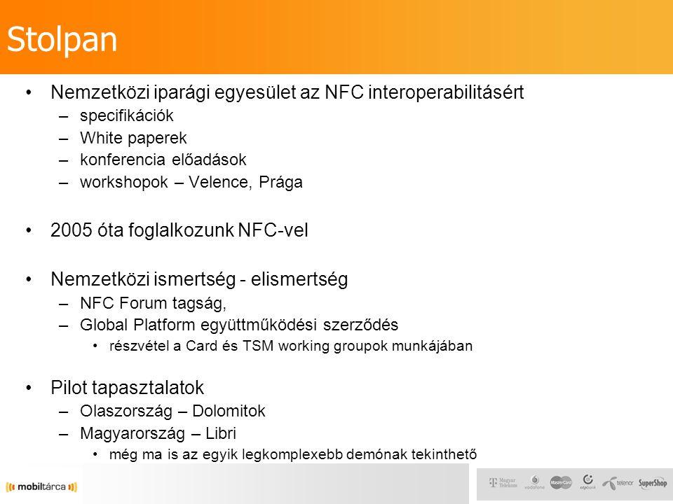 Nemzetközi iparági egyesület az NFC interoperabilitásért –specifikációk –White paperek –konferencia előadások –workshopok – Velence, Prága 2005 óta foglalkozunk NFC-vel Nemzetközi ismertség - elismertség –NFC Forum tagság, –Global Platform együttműködési szerződés részvétel a Card és TSM working groupok munkájában Pilot tapasztalatok –Olaszország – Dolomitok –Magyarország – Libri még ma is az egyik legkomplexebb demónak tekinthető Stolpan