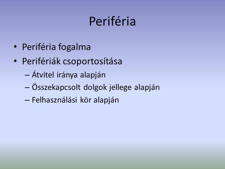 Periféria Periféria fogalma Perifériák csoportosítása – Átvitel iránya alapján – Összekapcsolt dolgok jellege alapján – Felhasználási kör alapján