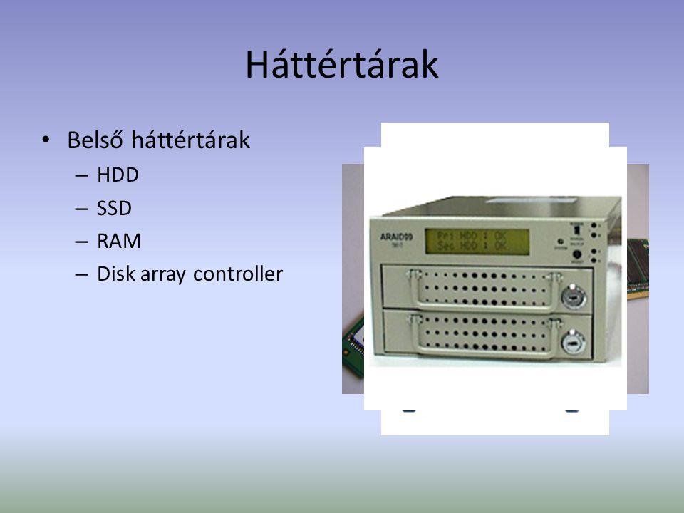 Háttértárak Belső háttértárak – HDD – SSD – RAM – Disk array controller