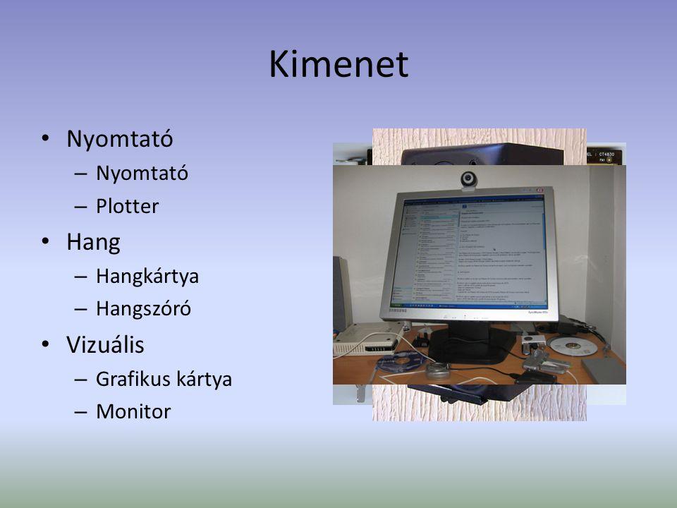 Kimenet Nyomtató – Nyomtató – Plotter Hang – Hangkártya – Hangszóró Vizuális – Grafikus kártya – Monitor