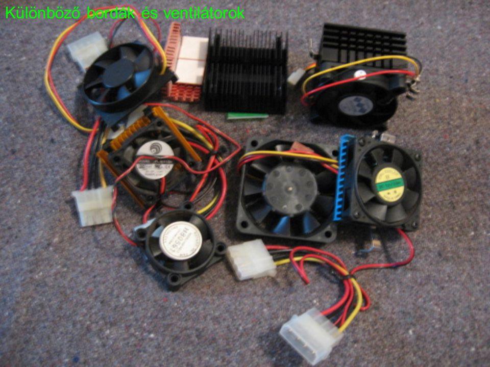Különböző bordák és ventilátorok
