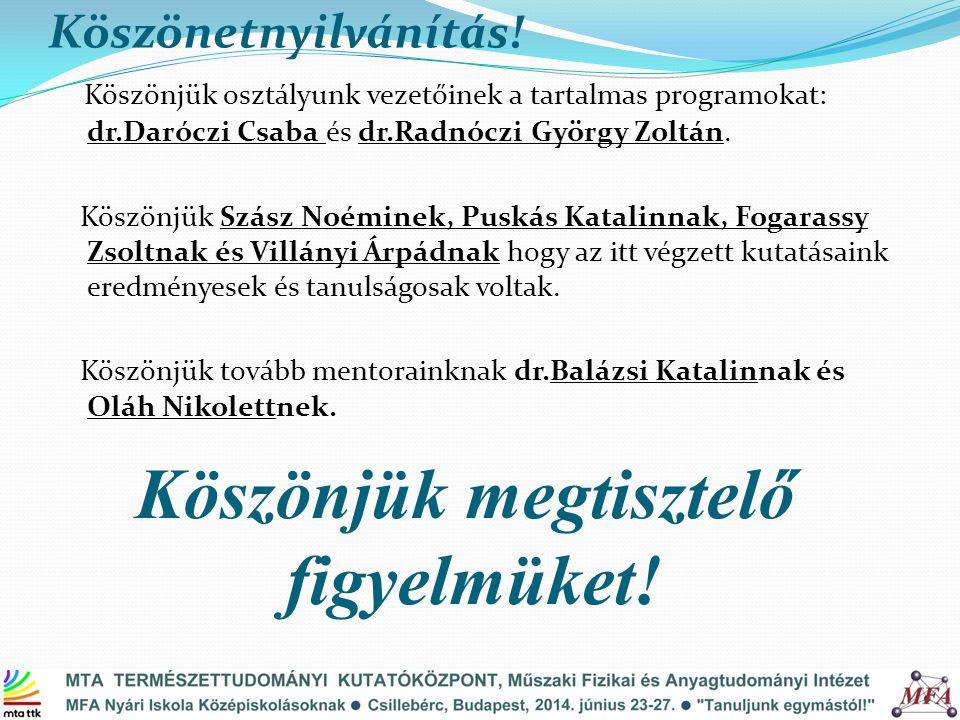 Köszönetnyilvánítás! Köszönjük osztályunk vezetőinek a tartalmas programokat: dr.Daróczi Csaba és dr.Radnóczi György Zoltán. Köszönjük Szász Noéminek,