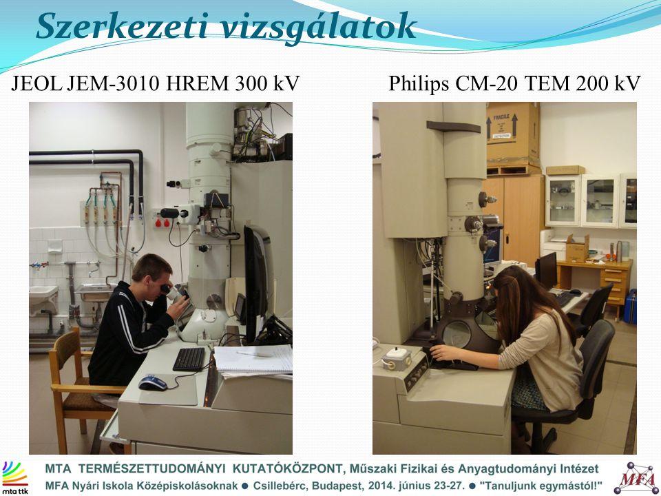 Szerkezeti vizsgálatok Philips CM-20 TEM 200 kVJEOL JEM-3010 HREM 300 kV