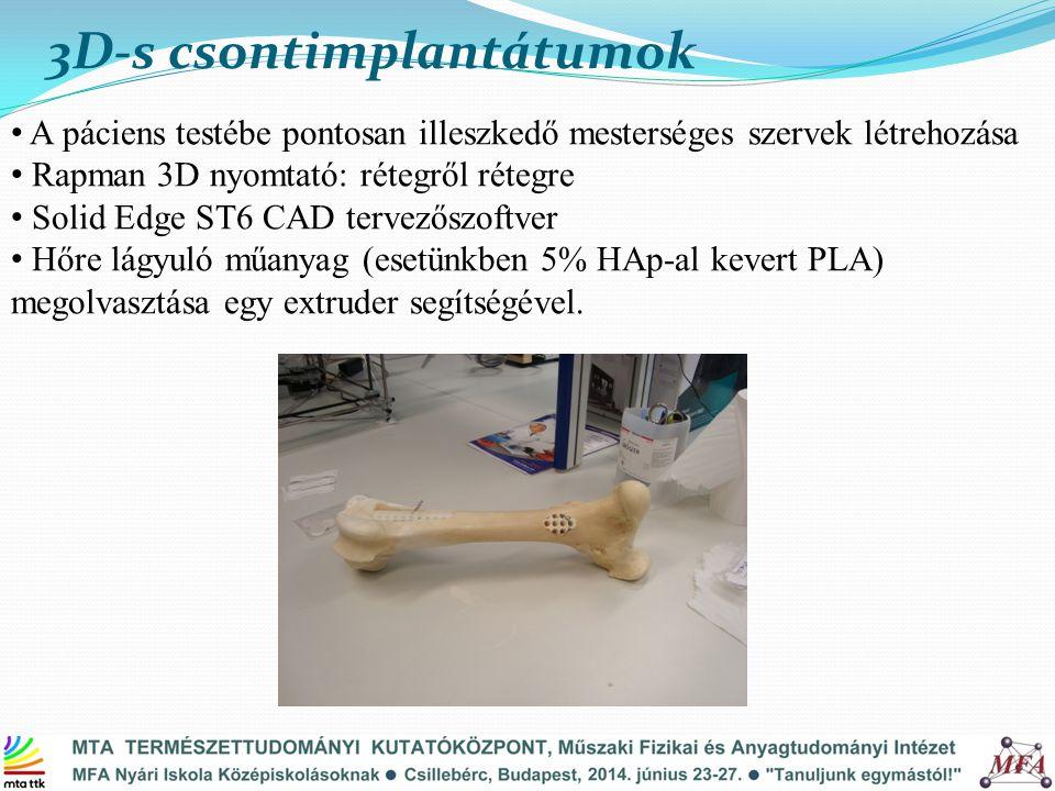 3D-s csontimplantátumok A páciens testébe pontosan illeszkedő mesterséges szervek létrehozása Rapman 3D nyomtató: rétegről rétegre Solid Edge ST6 CAD tervezőszoftver Hőre lágyuló műanyag (esetünkben 5% HAp-al kevert PLA) megolvasztása egy extruder segítségével.