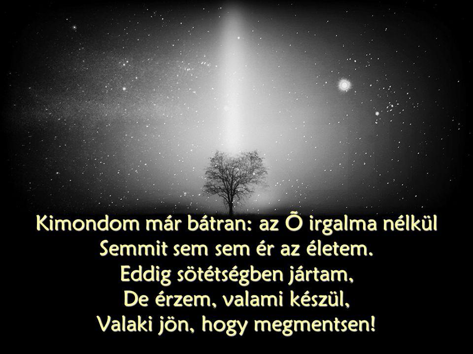 Kimondom már bátran: az Õ irgalma nélkül Semmit sem sem ér az életem. Eddig sötétségben jártam, De érzem, valami készül, Valaki jön, hogy megmentsen!