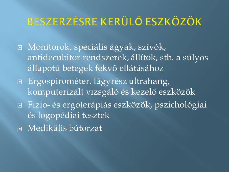  Monitorok, speciális ágyak, szívók, antidecubitor rendszerek, állítók, stb.