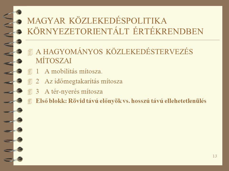 13 MAGYAR KÖZLEKEDÉSPOLITIKA KÖRNYEZETORIENTÁLT ÉRTÉKRENDBEN 4 A HAGYOMÁNYOS KÖZLEKEDÉSTERVEZÉS MÍTOSZAI 4 1 A mobilitás mítosza.