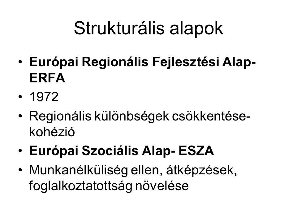 Strukturális alapok Európai Regionális Fejlesztési Alap- ERFA 1972 Regionális különbségek csökkentése- kohézió Európai Szociális Alap- ESZA Munkanélküliség ellen, átképzések, foglalkoztatottság növelése
