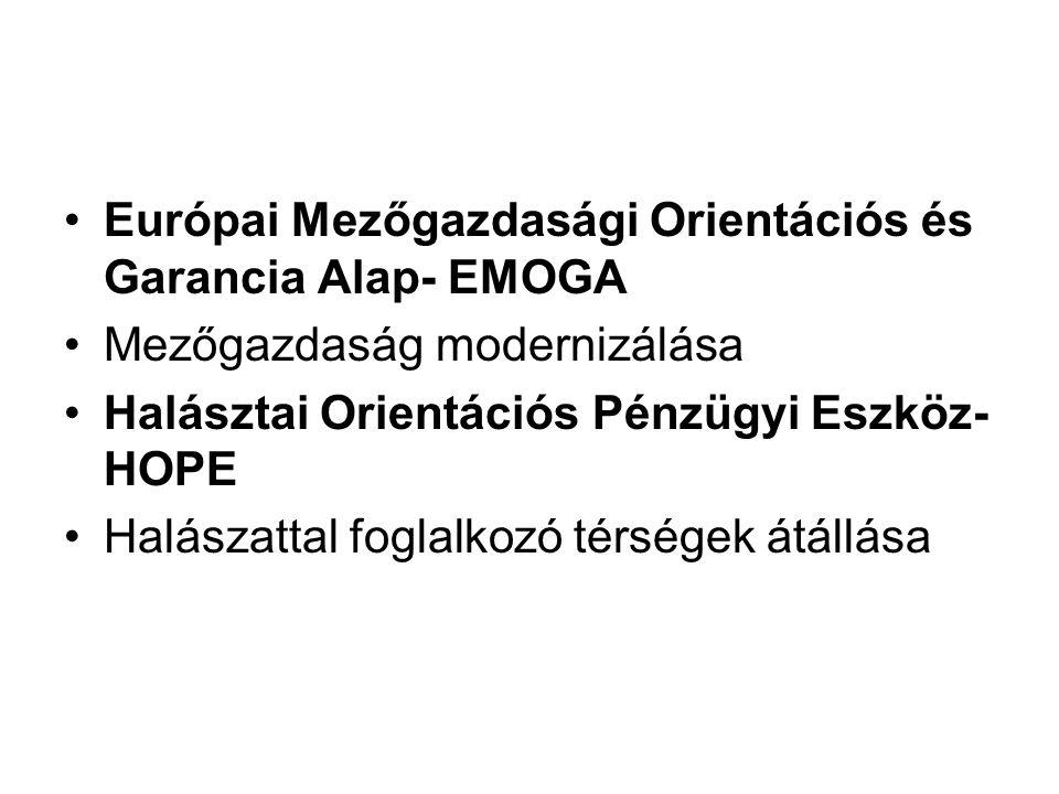 Európai Mezőgazdasági Orientációs és Garancia Alap- EMOGA Mezőgazdaság modernizálása Halásztai Orientációs Pénzügyi Eszköz- HOPE Halászattal foglalkozó térségek átállása