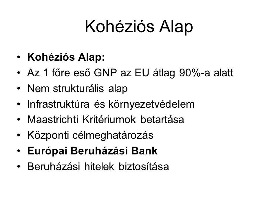 Kohéziós Alap Kohéziós Alap: Az 1 főre eső GNP az EU átlag 90%-a alatt Nem strukturális alap Infrastruktúra és környezetvédelem Maastrichti Kritériumok betartása Központi célmeghatározás Európai Beruházási Bank Beruházási hitelek biztosítása