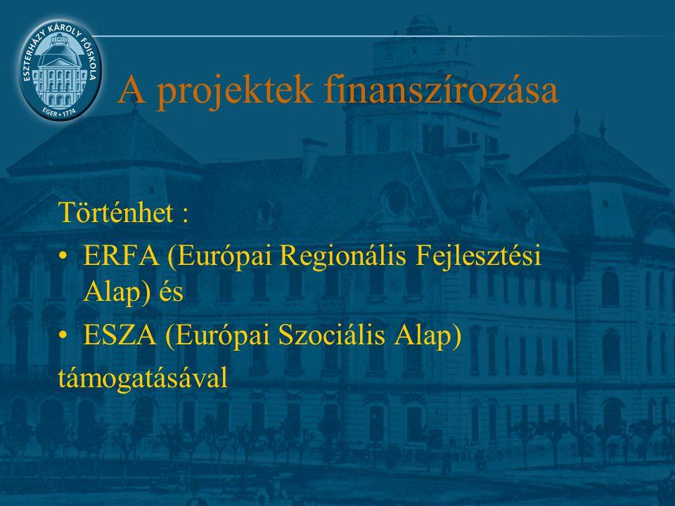 A projektek finanszírozása Történhet : ERFA (Európai Regionális Fejlesztési Alap) és ESZA (Európai Szociális Alap) támogatásával