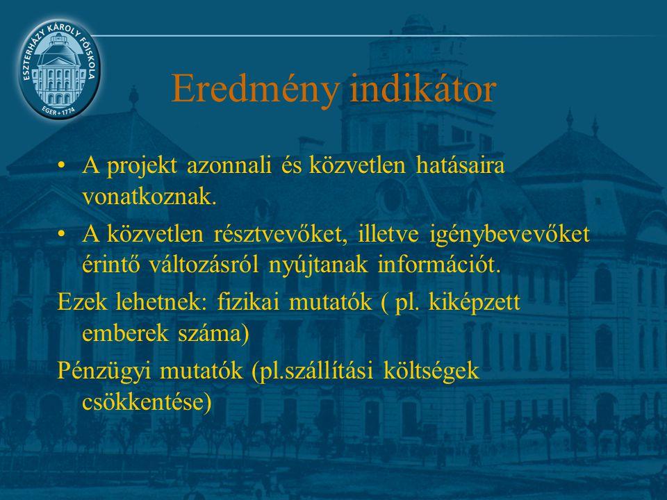 Eredmény indikátor A projekt azonnali és közvetlen hatásaira vonatkoznak. A közvetlen résztvevőket, illetve igénybevevőket érintő változásról nyújtana