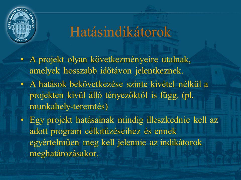 Hatásindikátorok A projekt olyan következményeire utalnak, amelyek hosszabb időtávon jelentkeznek. A hatások bekövetkezése szinte kivétel nélkül a pro