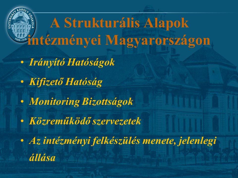 A Strukturális Alapok intézményei Magyarországon Irányító Hatóságok Kifizető Hatóság Monitoring Bizottságok Közreműködő szervezetek Az intézményi felk