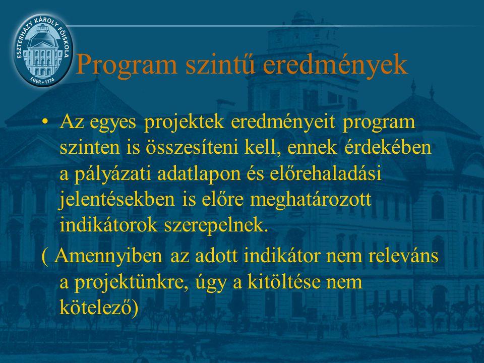 Program szintű eredmények Az egyes projektek eredményeit program szinten is összesíteni kell, ennek érdekében a pályázati adatlapon és előrehaladási j