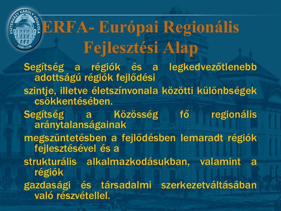 ERFA- Európai Regionális Fejlesztési Alap Segítség a régiók és a legkedvezőtlenebb adottságú régiók fejlődési szintje, illetve életszínvonala közötti