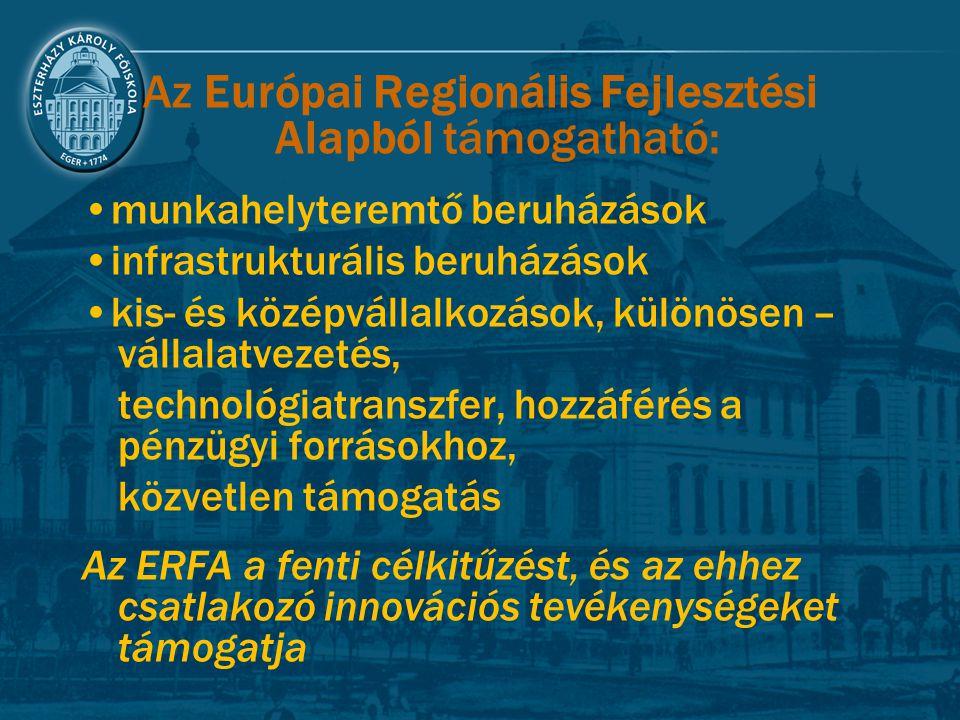 Az Európai Regionális Fejlesztési Alapból támogatható: munkahelyteremtő beruházások infrastrukturális beruházások kis- és középvállalkozások, különöse