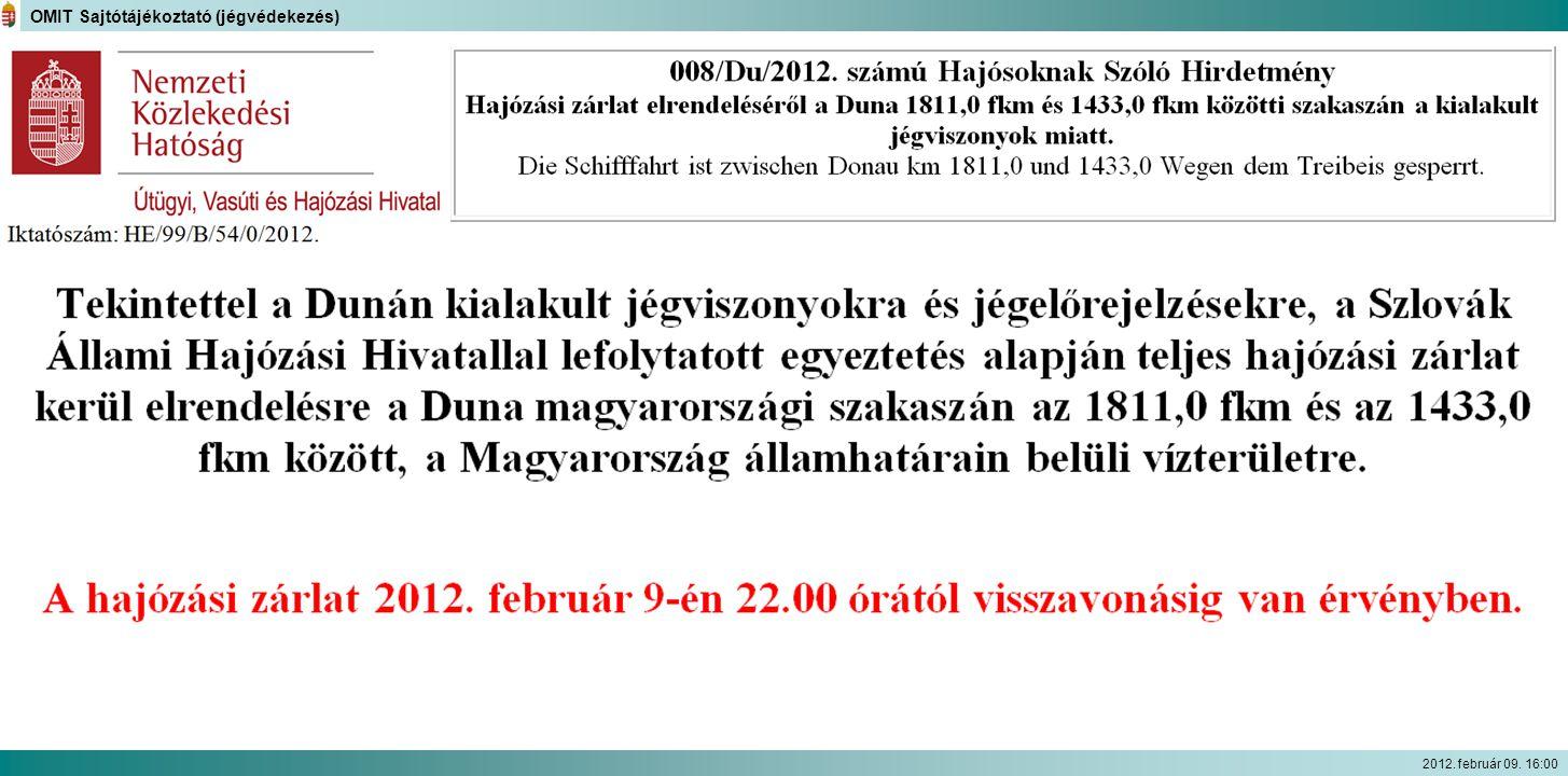 OMIT Sajtótájékoztató (jégvédekezés) 2012. február 09. 16:00