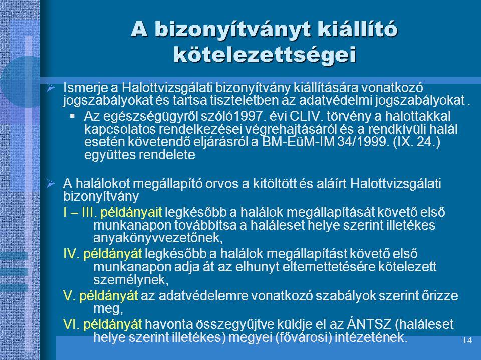 14 A bizonyítványt kiállító kötelezettségei  Ismerje a Halottvizsgálati bizonyítvány kiállítására vonatkozó jogszabályokat és tartsa tiszteletben az