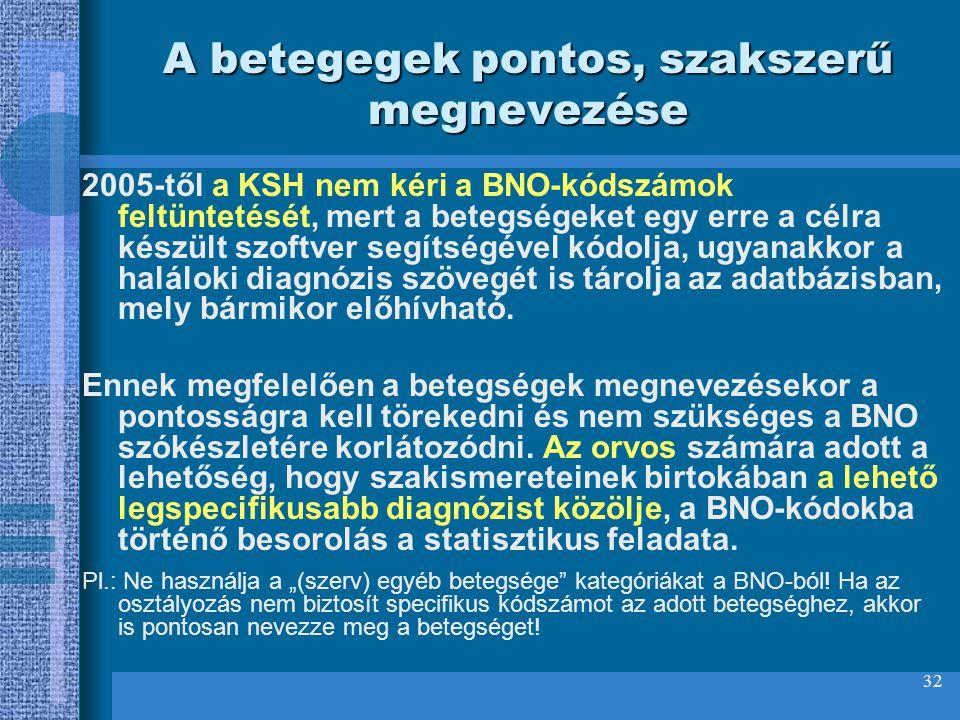 32 A betegegek pontos, szakszerű megnevezése 2005-től a KSH nem kéri a BNO-kódszámok feltüntetését, mert a betegségeket egy erre a célra készült szoft