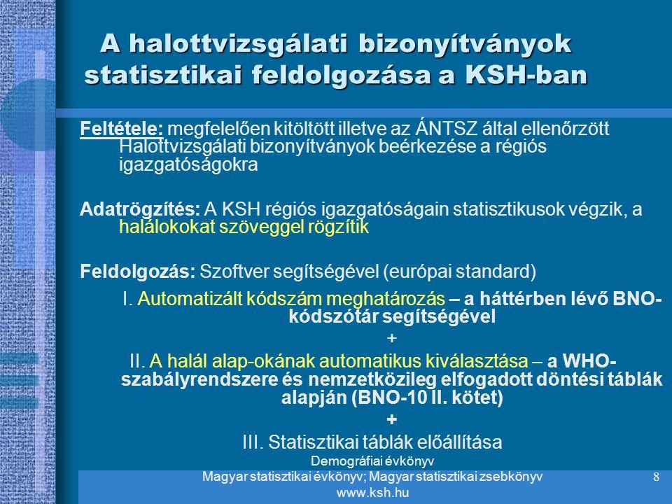 8 A halottvizsgálati bizonyítványok statisztikai feldolgozása a KSH-ban Feltétele: megfelelően kitöltött illetve az ÁNTSZ által ellenőrzött Halottvizs