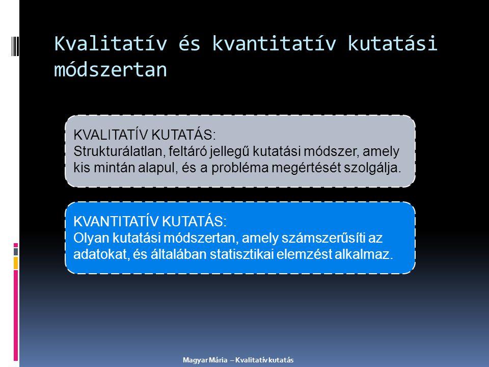 Kvalitatív és kvantitatív kutatási módszertan KVALITATÍV KUTATÁS: Strukturálatlan, feltáró jellegű kutatási módszer, amely kis mintán alapul, és a pro