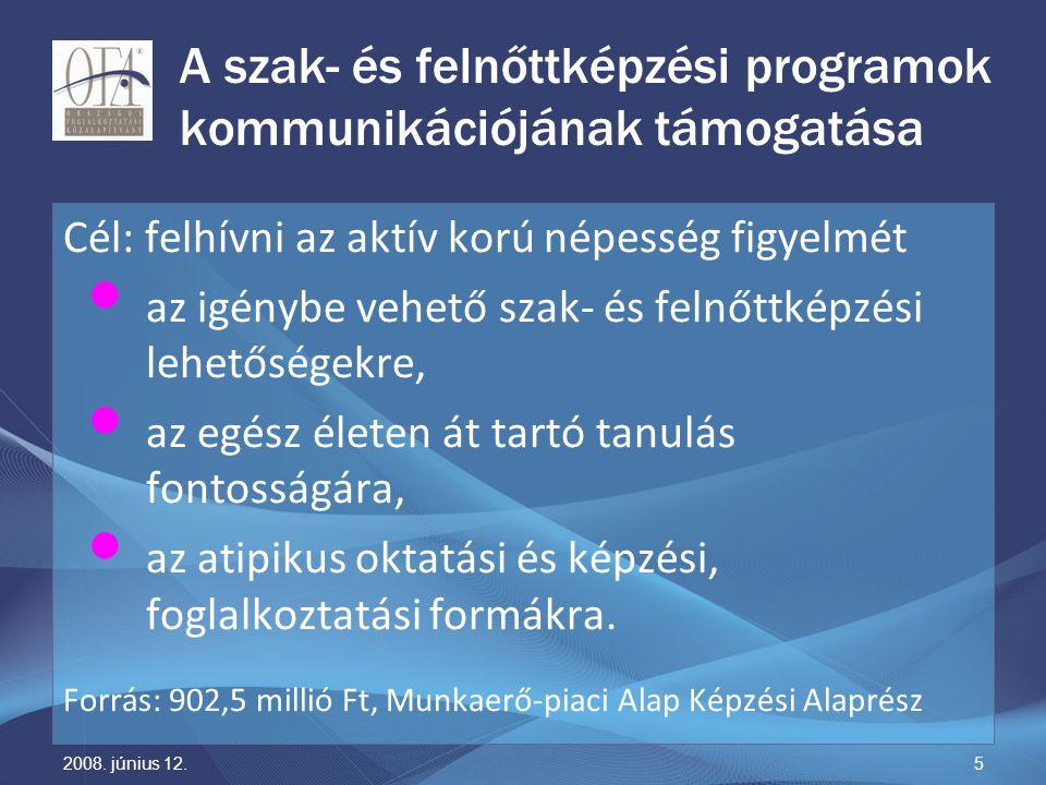 2008. június 12.5 A szak- és felnőttképzési programok kommunikációjának támogatása Cél: felhívni az aktív korú népesség figyelmét az igénybe vehető sz
