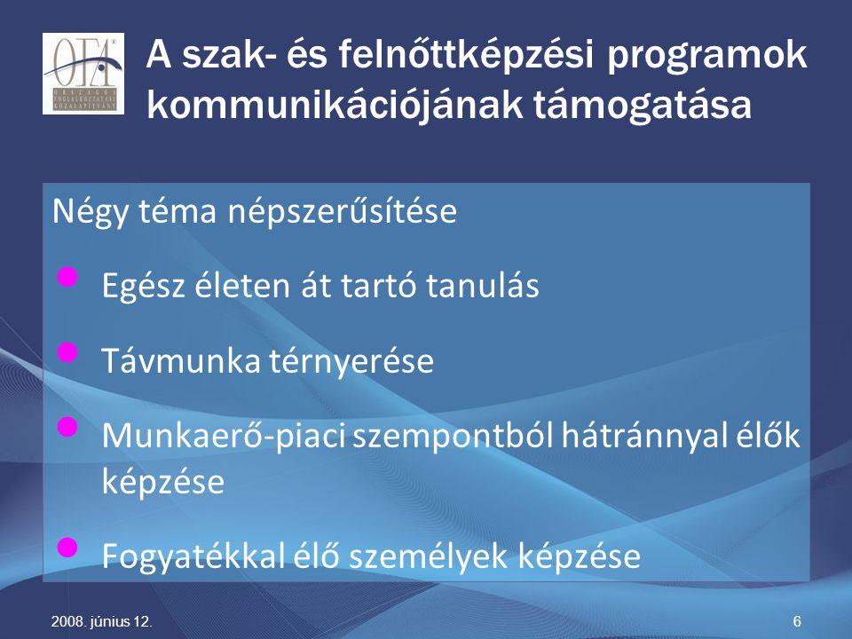 2008. június 12.6 A szak- és felnőttképzési programok kommunikációjának támogatása Négy téma népszerűsítése Egész életen át tartó tanulás Távmunka tér