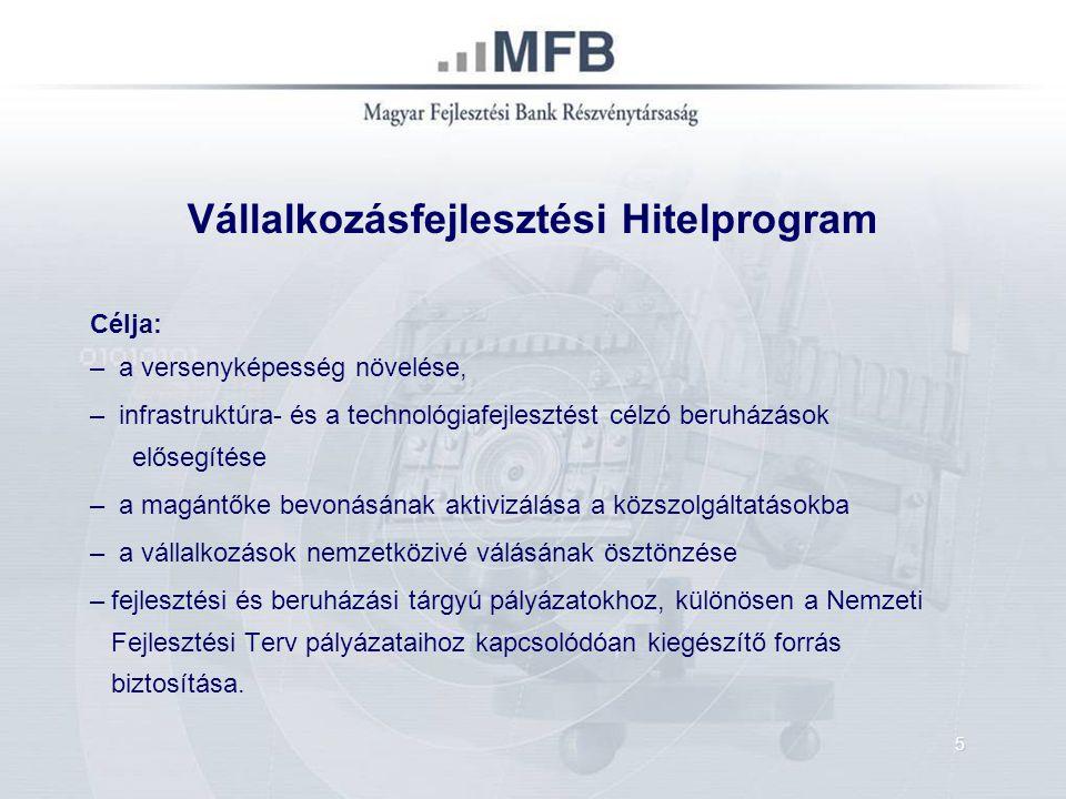 Általános jellemzők: – Hitelfelvevők köre: mikrovállalkozás, kkv, nagyvállalat, államháztartásban gazdálkodó szervezetek – Árfolyam-garancia – Hitel összege 1-1000 mFt – Sajáterő 15 illetve 25 % – Kedvezményes kamat változó – 3 havi EURIBOR + max.