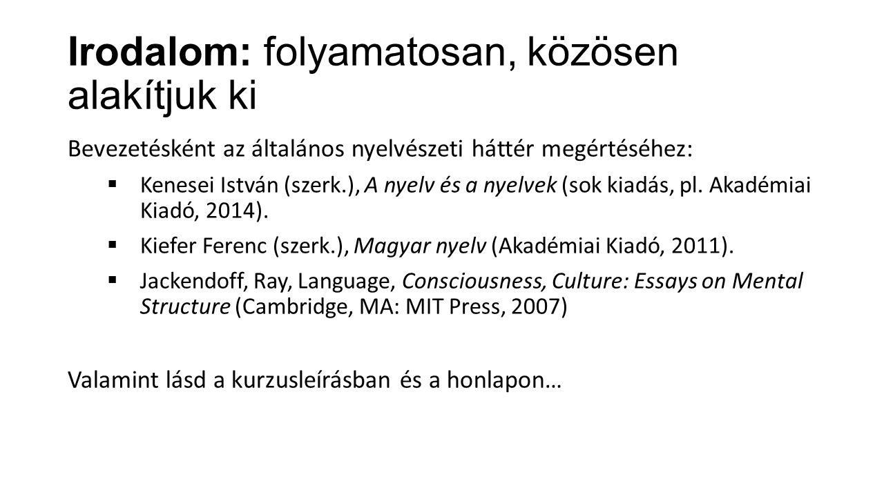 Irodalom: folyamatosan, közösen alakítjuk ki Bevezetésként az általános nyelvészeti háttér megértéséhez:  Kenesei István (szerk.), A nyelv és a nyelv