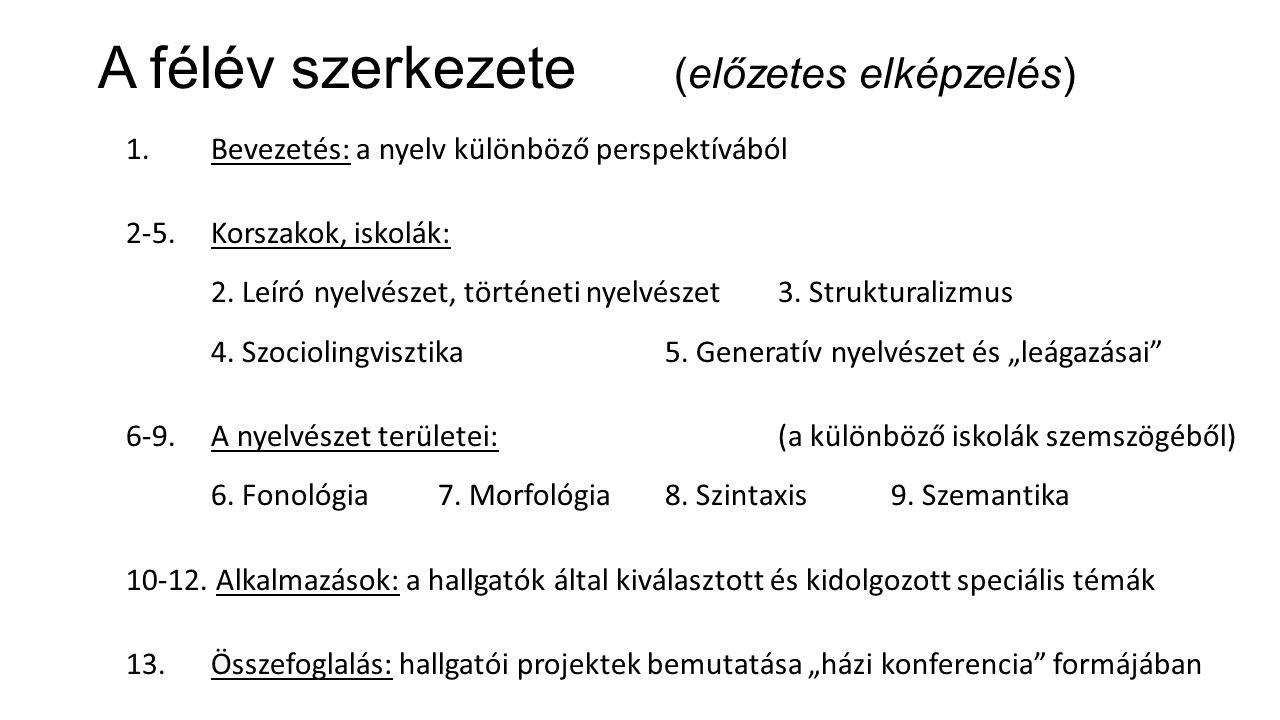 A félév szerkezete (előzetes elképzelés) 1. Bevezetés: a nyelv különböző perspektívából 2-5.Korszakok, iskolák: 2. Leíró nyelvészet, történeti nyelvés