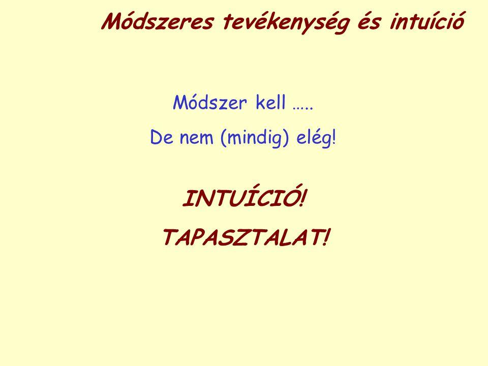 Módszeres tevékenység és intuíció Módszer kell ….. De nem (mindig) elég! INTUÍCIÓ! TAPASZTALAT!