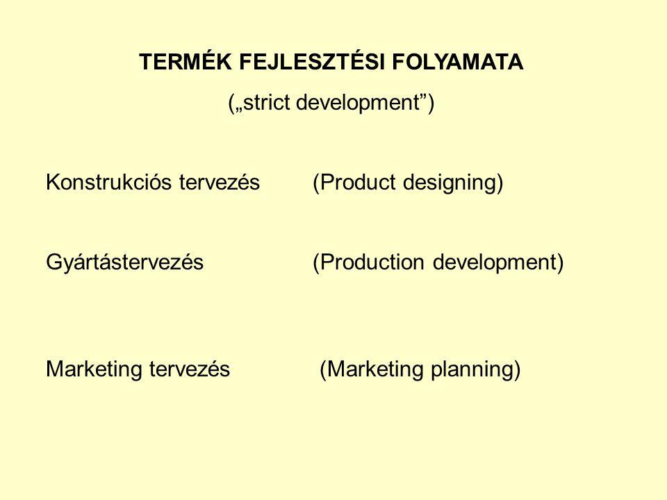 """TERMÉK FEJLESZTÉSI FOLYAMATA (""""strict development ) Konstrukciós tervezés(Product designing) Gyártástervezés (Production development) Marketing tervezés (Marketing planning)"""